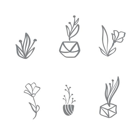 Set of vector scandinavian floral Logo. Hand drawn icon flower organic cosmetic, florist wedding, home decor
