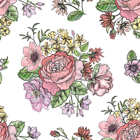 Floral seamless pattern. Flower background. Garden ornament vector