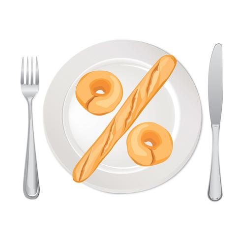Count Calories Concept. Percent sign. Bread on plate isolated