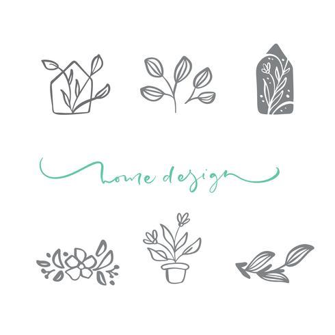 Conjunto de logotipo floral escandinavo de vetor. Entregue o cosmético orgânico tirado da flor do ícone, casamento do florista, decoração home. Texto de Design de Casa