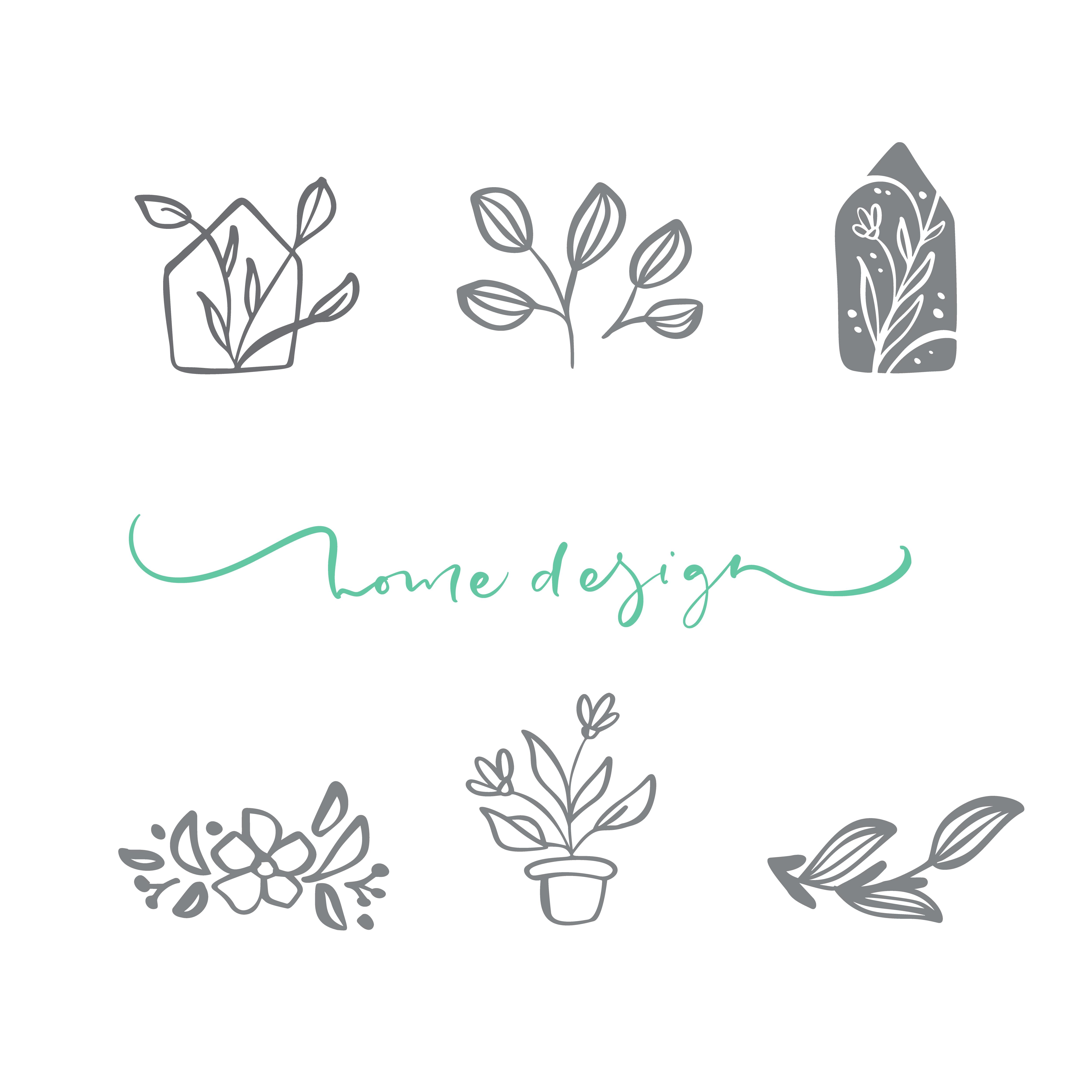 Set of vector scandinavian floral Logo. Hand drawn icon ...