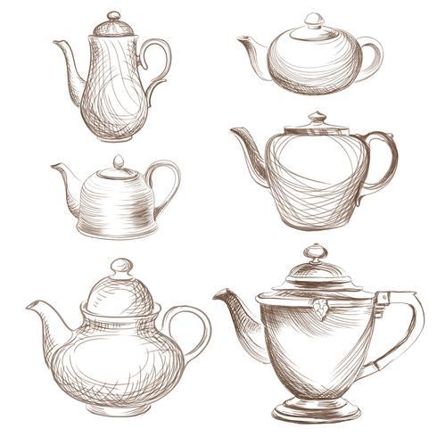 Tea kettles set. Teapots drawn collection. Coffee pot sketch . vector