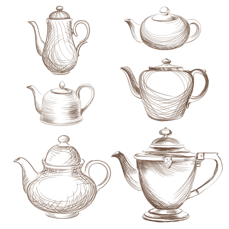 Coffee Logo Collection: Tea Kettles Set. Teapots Drawn Collection . Coffee Pot