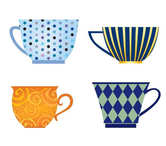 Cup gesetzt. Kaffeepause-Symbol. Stilvolle Teebechersammlung lokalisiert auf Weiß. vektor