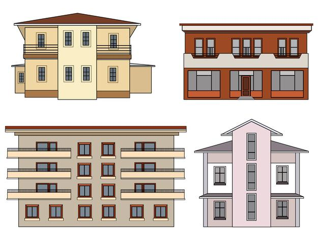 House front view set. City byggnad fasad isolerad samling.