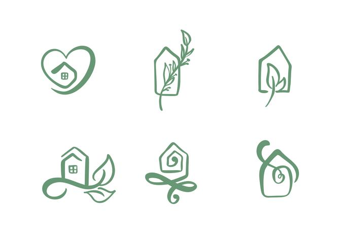 Set of simple calligraphy houses hand drawn logo. Real Vector Icons. Estate Architecture Construction for design. Art home vintage element