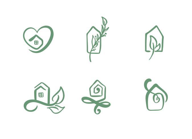 Set med enkla kalligrafi hus handtecknad logotyp. Real Vector Ikoner. Estate Architecture Byggande för design. Konst hem vintage element