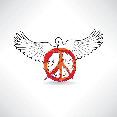 Fredsymbol. Dove, pacifism tecken. Internationella fredagen emblem.