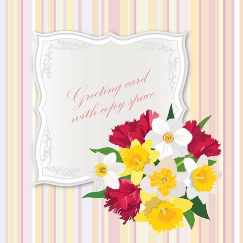 Ramo de flores. Marco floral. Tarjeta de felicitación de florecer. Decoracion de verano