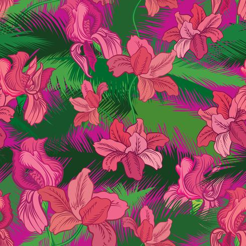 Floral seamless pattern. Tropical fowers. Jungle style background