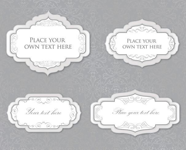Calligraphic floral frame. Page decor element. Card border set