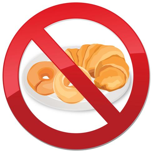 Glutenvrij pictogram. Geen broodteken. Verbod op hoogcalorisch voedselsymbool