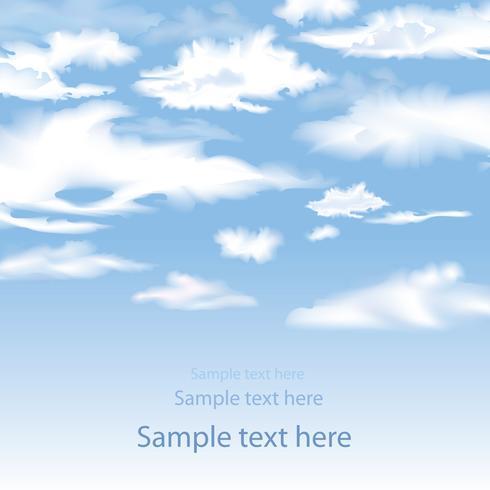 Cielo azul con fondo de nubes. Fondo de pantalla de cielo horizonte de desenfoque vector