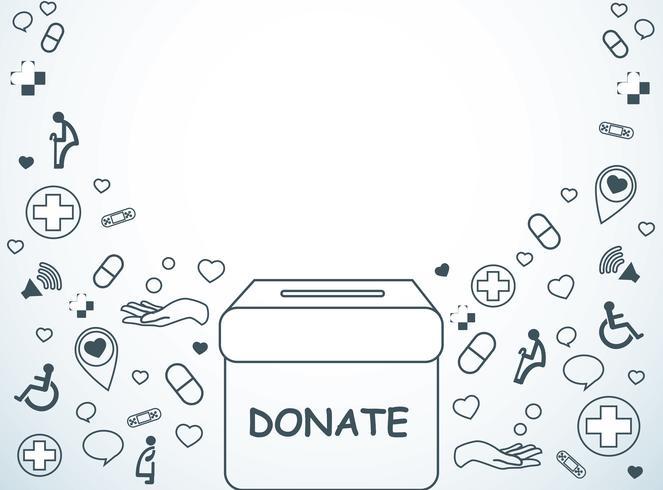 doneer, liefdadigheid voor medische en gezondheid achtergrond vector