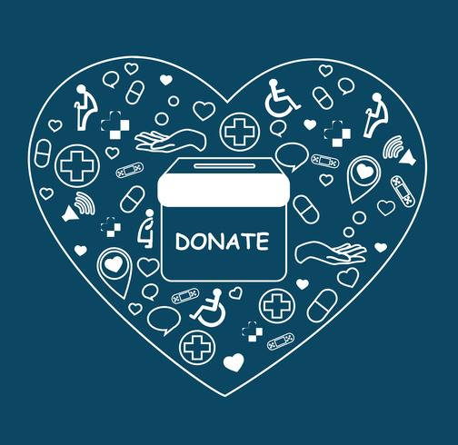 donate , charity for medical and health on heart shape vector