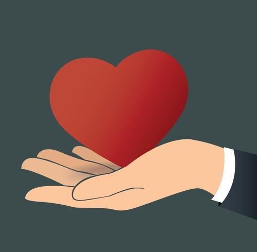 hand met de hart-vector