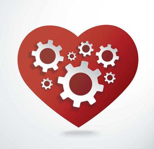 Engrenagens em ilustração vetorial de forma de coração