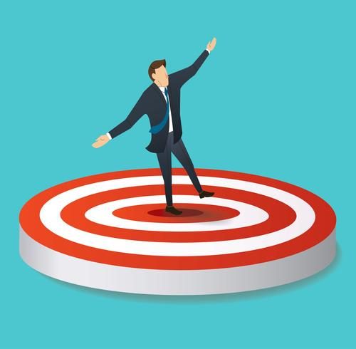 businessman standing on target archery vector