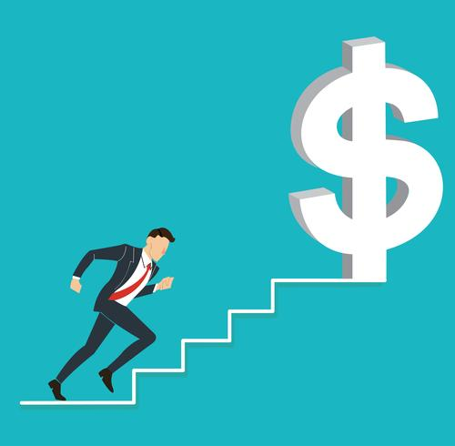 businessman running to dollar icon
