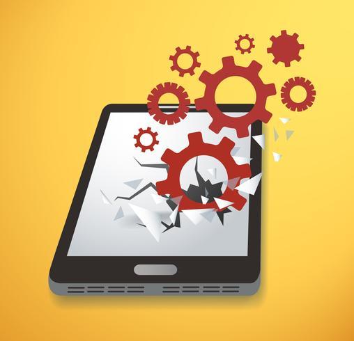 Icona di ingranaggi Rompere attraverso il vettore dello schermo smartphone