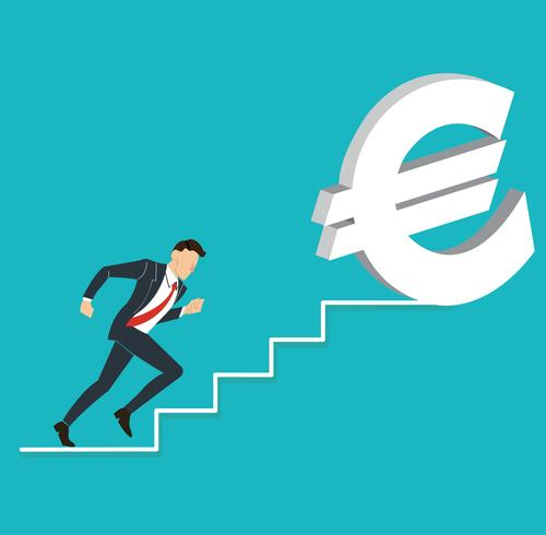 businessman running to Euro dollar icon vector