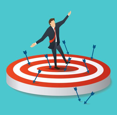 businessman standing on target archery with many arrows vector