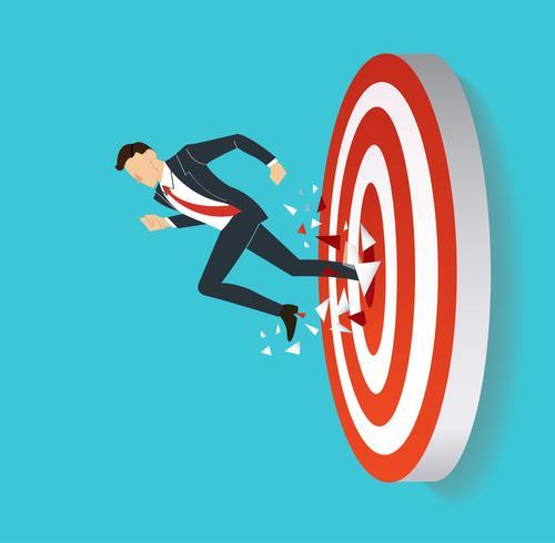 hombre de negocios rompiendo el tiro al arco objetivo a vector exitoso. Ilustración del concepto de negocio