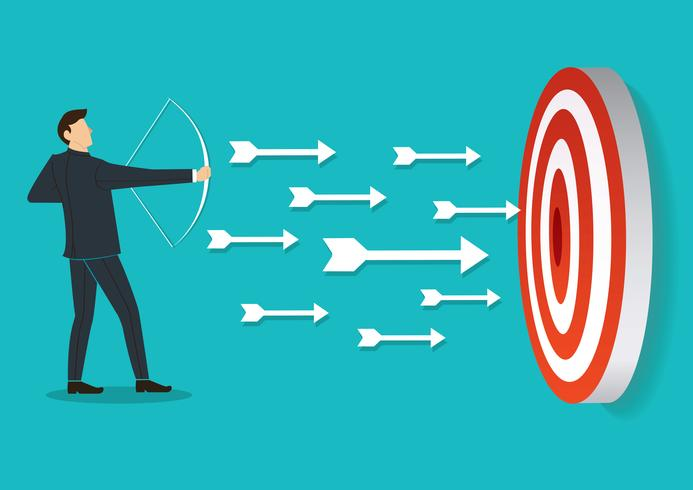 successful businessman aiming target with bow and arrow