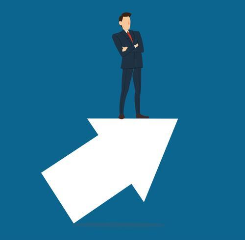 exitoso hombre de negocios en concepto de flecha negocios vector illustration