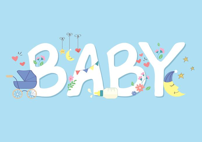 cute baby font vector