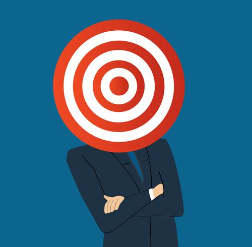zakenman met doel boogschieten hoofd vector
