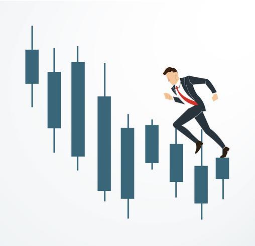 running businessman on Candlestick stock exchange vector