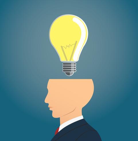 Geschäftsmann, der mit Glühlampeikone denkt. Konzept des Denkens
