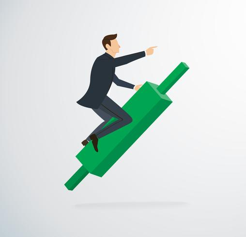 businessman riding on Candlestick chart icon vector