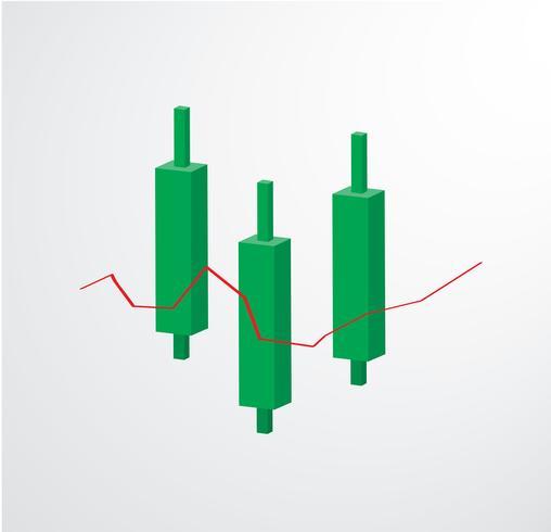 Vettore di borsa valori dell'icona del grafico del candeliere