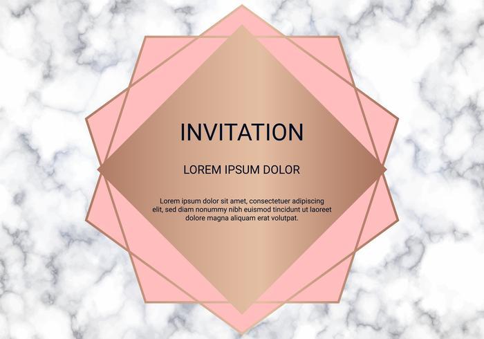 La plantilla del diseño de la tarjeta de felicitación, la bandera y la cubierta mínimas con la textura de mármol y la hoja de oro geométrica detallan el fondo. vector