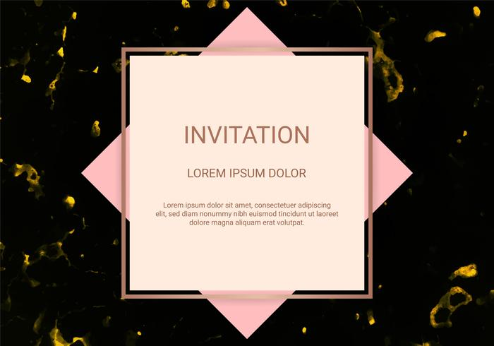 Greeting card design template, Minimal banner and cover with marble texture and geometric golden foil detail background. vector
