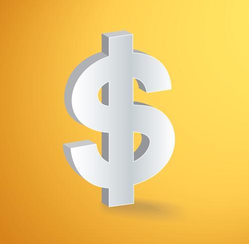 Vector de símbolo de icono de dólar