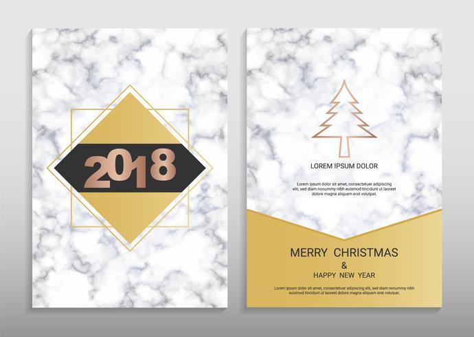 Modello di disegno di cartolina d'auguri di buon Natale e felice anno nuovo.