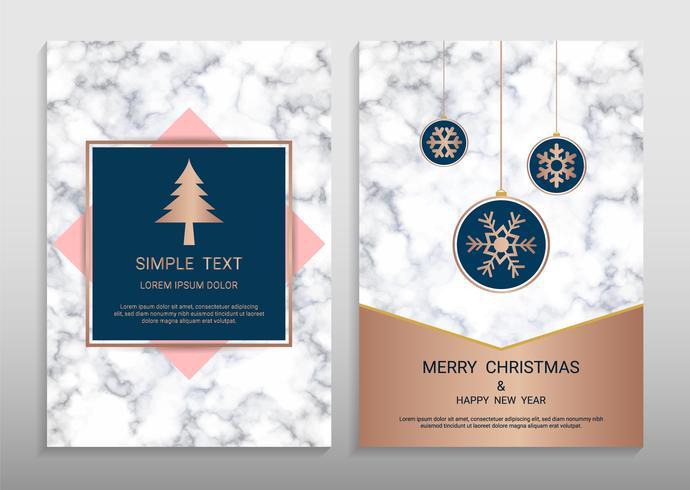 Frohe Weihnachten und Happy New Year Grußkarte Entwurfsvorlage.