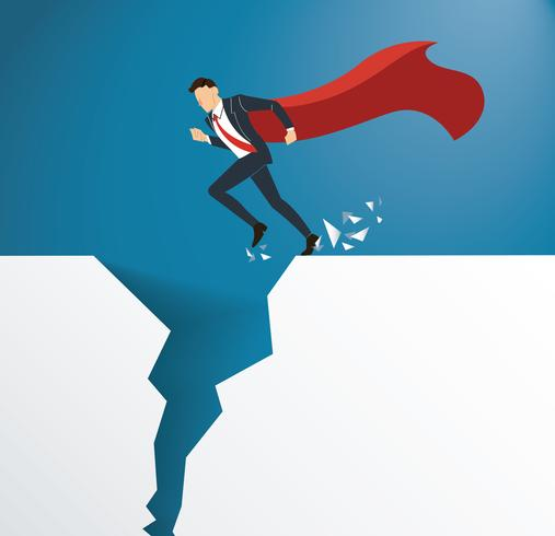 businessman with cape overcome obstacle crisis risk concept