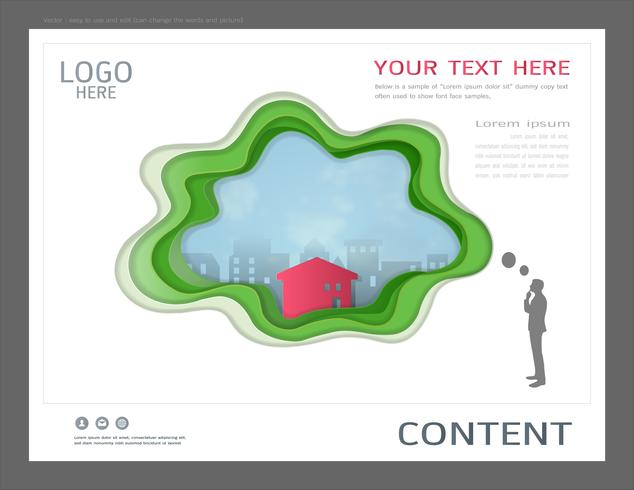 Modelo de design de layout de apresentação para o conceito de imóveis comerciais.