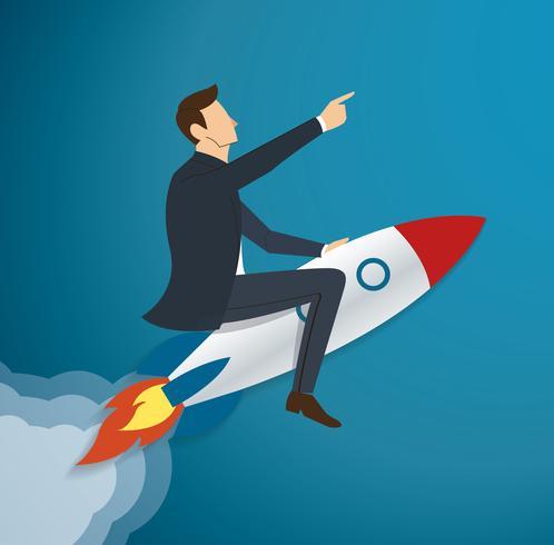 Empresário voando com um foguete para vetor de sucesso