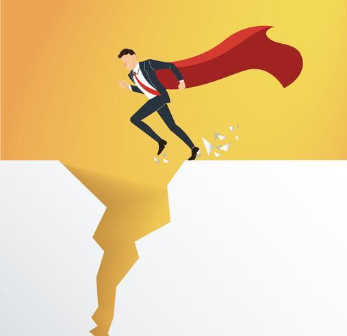 zakenman met cape te overwinnen obstakel crisis risico concept vector