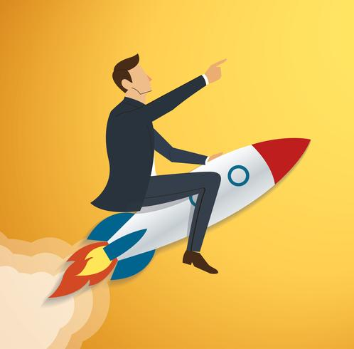Empresario volando con un cohete al vector exitoso