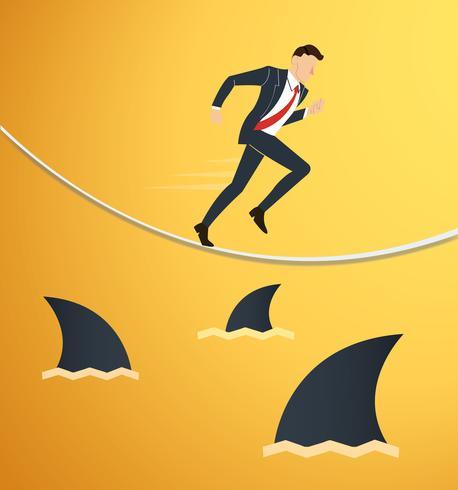 illustratie van een lopende zakenman op touw met haaien onder bedrijfsrisico kans