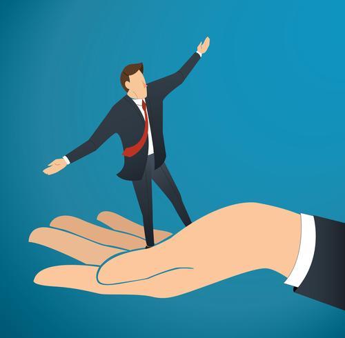 zakenman of man lopen op grote hand, bedrijfsconcept illustratie
