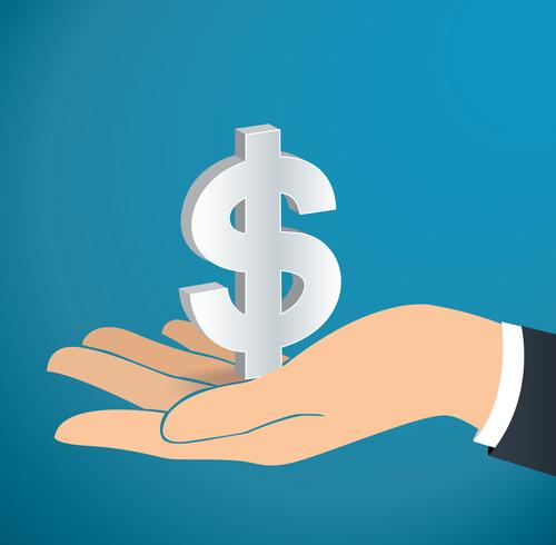 hand holding Dollar icon vector