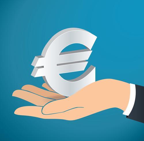 hand som håller Euro ikon vektor