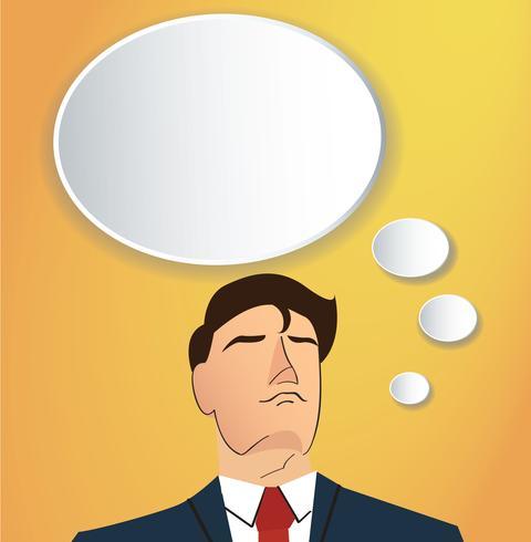 Ritratto dell'uomo d'affari che pensa con il fondo della scatola di chiacchierata della nuvola